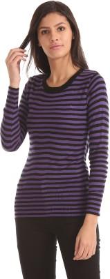 Flying Machine Striped Round Neck Casual Women Purple Sweater