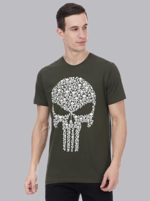 Punisher By Free Authority Printed Men Round Neck Green T-Shirt