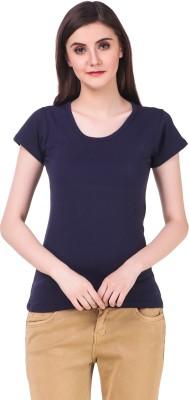 99 Affair Solid Women Round Neck Dark Blue T Shirt
