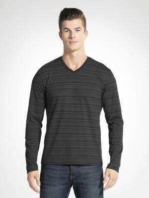 Jockey Striped Men V-Neck Black T-Shirt