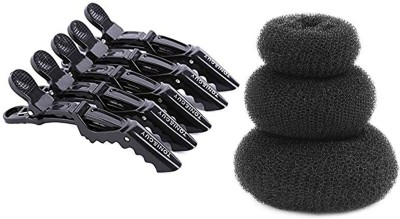 Toni&Guy Hair Style DONUT Perfect BUN- JUDA Maker Tool For Women - (Combo of 3) with tony&guy Sectioning Clips Back Pin, Hair Claw (Black) Hair Clip Bun, Hair Clip(Black)