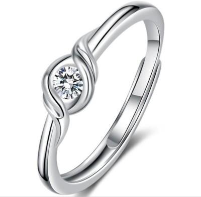 MYKI Sterling Silver Swarovski Crystal Silver Plated Ring