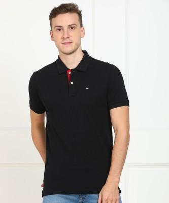 Arrow Sport Solid Men Polo Neck Black T-Shirt