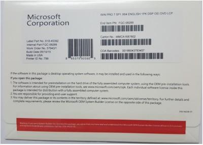 Microsoft Windows 7 Professional SP1 Original DVD 64 Bit