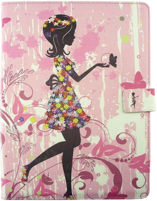 Emartbuy Wallet Case Cover for Dell Ubislate 7Cx(Pink Flower Girl)