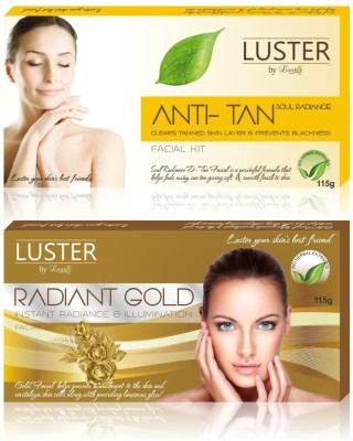 Luster Soul Radiance D-Tan & Radiant Gold Facial Kit (New Pack) 230 g(Set of 2) at flipkart