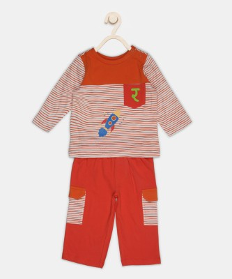 Fabindia Baby Boys & Baby Girls Casual T-shirt Trouser(Multicolor)