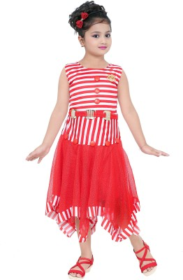 DIGIMART Girls Midi/Knee Length Party Dress Red, Sleeveless DIGIMART Kids' Dresses