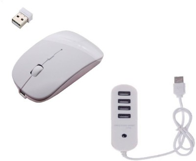 ROQ High Speed Ultra Slim Mouse With 4 port 1 TB USB Hub Wireless Optical Mouse USB, White