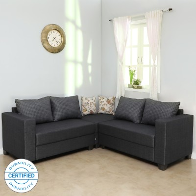 Sofame Lisa Fabric 5 Seater Sofa(Finish Color - Grey)