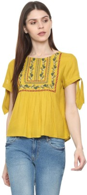 Lacuna Casual 3/4 Sleeve Printed Women Yellow, Red Top