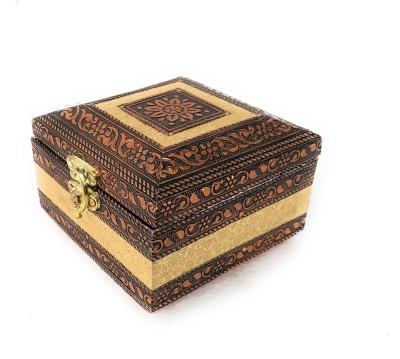 Navrang Jewelry Box Marriage, Anniversary, Gift Item, Engagement, Handmade Wooden, Multi Purpose, Jewelry Box Multi Use, Jewelry Storage Vanity Box(Golden, Copper)