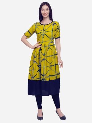 Divastri Women Printed Flared Kurta(Yellow)