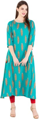 Janakdulari Creation Women Printed A-line Kurta(Green)