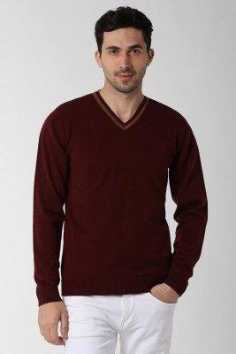 Peter England Solid V-neck Casual Men Maroon Sweater