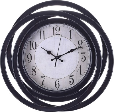 eCraftIndia Analog 46 cm X 5 cm Wall Clock(Black, With Glass) at flipkart