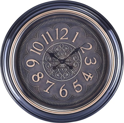 eCraftIndia Analog 59 cm X 5 cm Wall Clock(Black, With Glass) at flipkart
