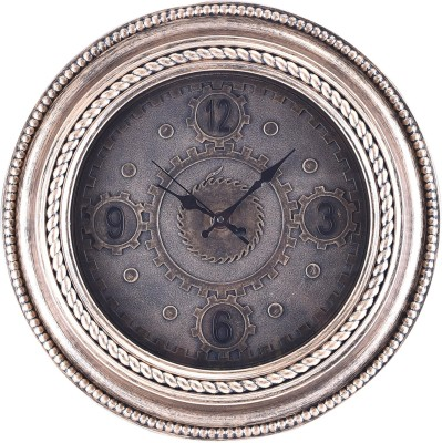 eCraftIndia Analog 51 cm X 5 cm Wall Clock(Gold, With Glass) at flipkart