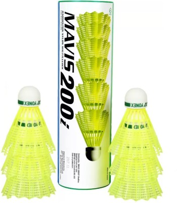 Yonex Mavis 200i Orignal Nylon Shuttle    Yellow Slow, 75, Pack of 6