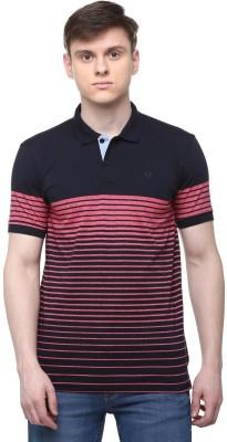 Allen Solly Striped Men Polo Neck Dark Blue T-Shirt
