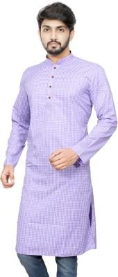 Paasbaan Men Checkered Straight Kurta(Purple)