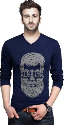 Tripr Printed Men V-Neck Dark Blue T-Shirt