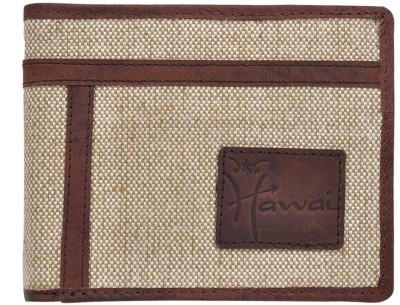 Hawai Men Casual, Formal Beige Canvas Wallet 6 Card Slots