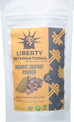 LIBERTY INTERNATIONAL 100% Organic Soapnut Reetha Aritha Powder Natural Health and Herbal Products for Silky Hairs and strengthen from Roots NT19 - Multi(227 g)