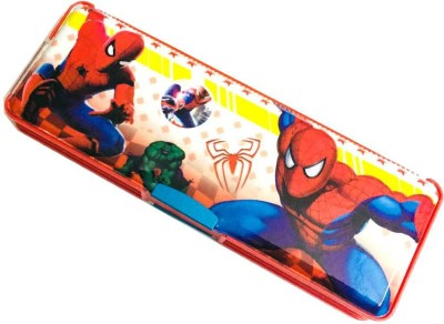 SDCollection SD Collection Multipurpose Spider man Design Pencil Box with LED Light + Dual Sharpener Spiderman Art Plastic Pencil Box(Set of 1, Red)