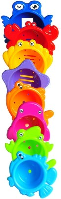 Emob Early Educational Colorful Stacking and Nesting Marine Animal Cups Bath Time Toys for Toddlers(Multicolor)