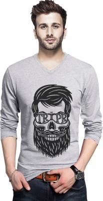 Tripr Printed Men V-Neck Grey T-Shirt