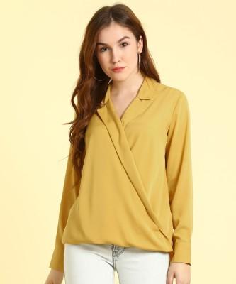 Van Heusen Formal Short Sleeve Solid Women Yellow Top