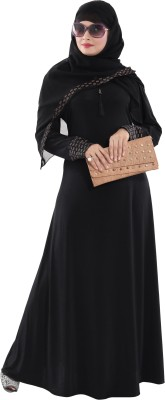 TUCUTE BLACK124 Lycra Abaya With Hijab(Black)