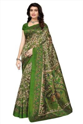 Oomph! Floral Print Mysore Art Silk Saree(Green)