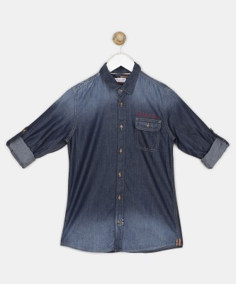 US Polo Kids Boys Solid Casual Blue Shirt at flipkart