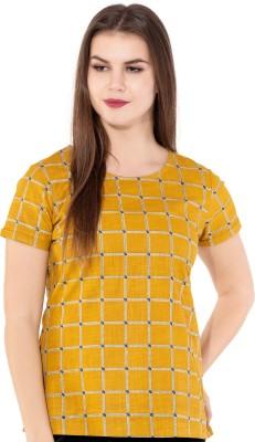 GMI Casual Regular Sleeve Checkered Women Yellow, Beige Top