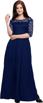 AADRIKA.COM FASHION WORLD Women Gown Dark Blue Dress