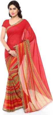 Saara Striped Fashion Cotton, Silk Saree(Red, Gold)