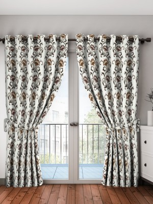 Saanvi Creations 274 cm (9 ft) Polyester Long Door Curtain (Pack Of 2)(Floral, Printed, Brown)