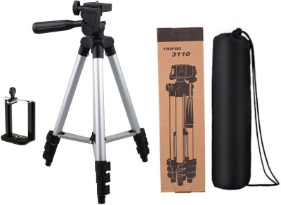 techobucks Top Selling Adjustable Portable Aluminium Lightweight Camera Stand Tripod-3110 With Three-Dimensional Head & Quick Release Plate For Video Cameras and mobile clip holder for All Mobiles & Smartphones Tripod(Silver, Black, Supports Up to 3200 g)