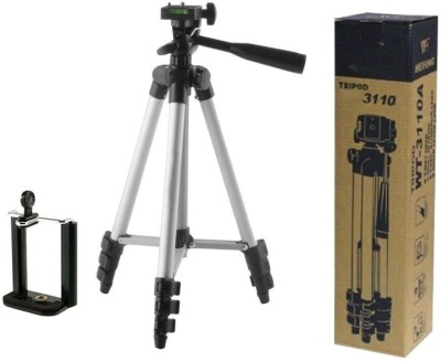 techobucks New 2019 Adjustable Aluminium Lightweight Camera Stand Tripod-3110 With Three-Dimensional Head & Quick Release Plate For Video Cameras and mobile clip holder for All Mobiles & Smartphones Tripod(Silver, Black, Supports Up to 3200 g) 1