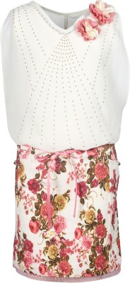 Cutecumber Girls Midi/Knee Length Party Dress(Beige, Sleeveless) at flipkart