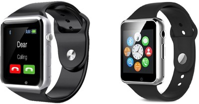 AVIKA A1(combo) Watch with calling Function silver, black Smartwatch(Silver Strap Free size)