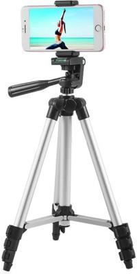 techobucks Top Selling Portable Digital Camera Mobile Stand Tripod, Tripod Kit, Tripod(Silver, Black, Supports Up to 3200 g) 1