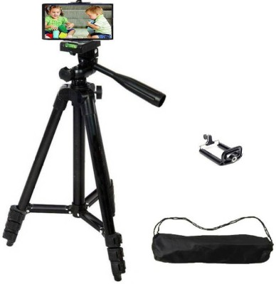 Padraig Tripod – 3120 For Camera + Mobile Clip Holder Bracket 2018 Latest || Compatible with most video cameras, digital cameras, still cameras, GoPro devices, smartphone Tripod(Black, Supports Up to 500 g)
