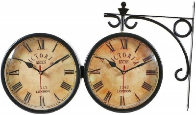 JaipurCrafts Analog 30 cm X 15.3 cm Wall Clock(Black, With Glass) at flipkart