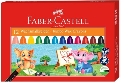 Faber-Castell 12 Jumbo Wax Crayons (90mm)(Assorted)