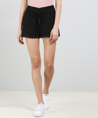 Vero Moda Solid Women Black Basic Shorts at flipkart