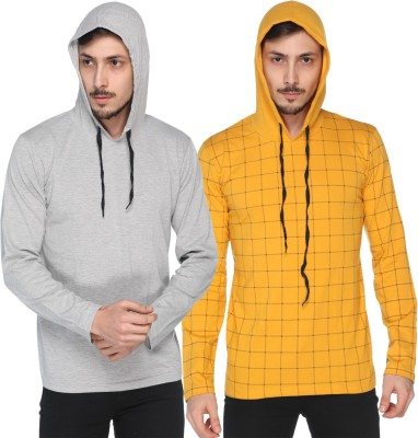 Shaun Checkered, Printed Men Hooded Neck Grey, Yellow T-Shirt(Pack of 2)