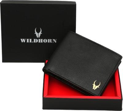 WildHorn Men Casual Black Genuine Leather Wallet 7 Card Slots